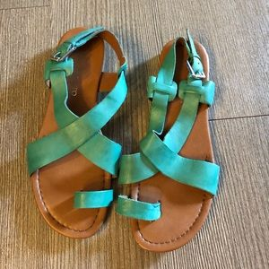 Franco Sarto Green Leather Sandals